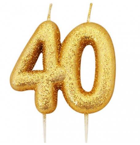 Bougie anniversaire or pailleté 40 ans  Hollyparty