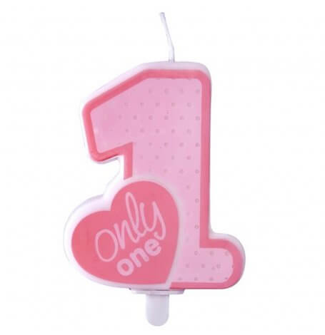 Bougie Anniversaire Rose Chiffre 1| Hollyparty
