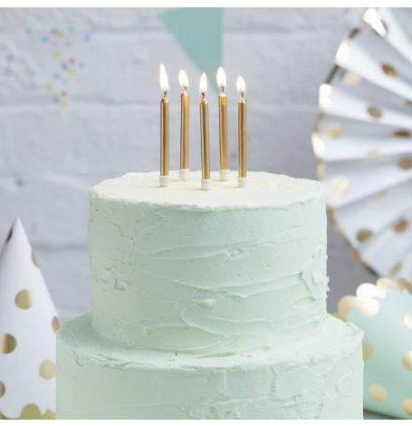 Bougies anniversaire Or métallique (x12)| Hollyparty