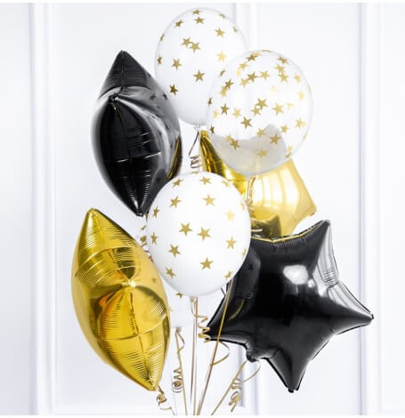 Bouquet 10 Ballons Etoile Noir, Or & Blanc| Hollyparty