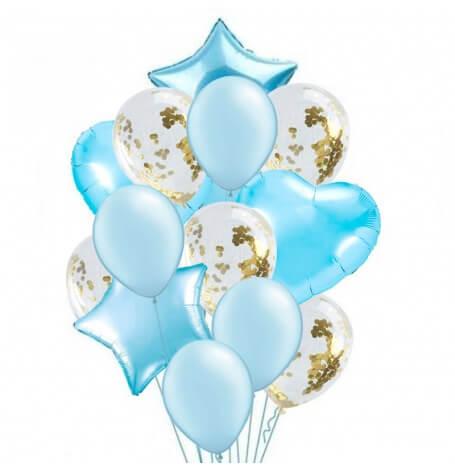 Bouquet 12 Ballons Bleu + Confettis Or + Etoile et Coeur Mylar | Hollyparty