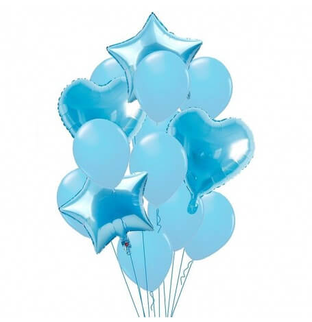 Bouquet 12 Ballons Bleu Pastel + Coeur + Etoile Mylar | Hollyparty