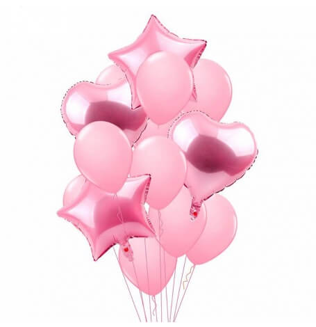Bouquet 12 Ballons Mylar Rose Pastel + Coeur + Etoile| Hollyparty
