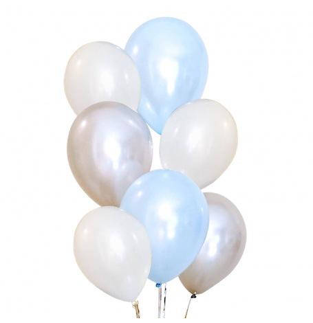 Bouquet 6 Ballons Baudruche Biodégradable Bleu & Argent| Hollyparty