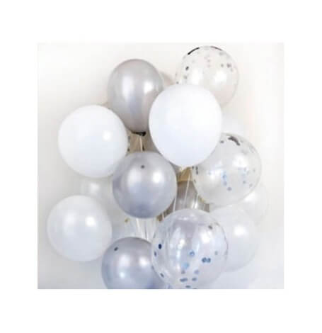 Bouquet Ballons Baudruche Biodégradable Argent & Blanc | Hollyparty