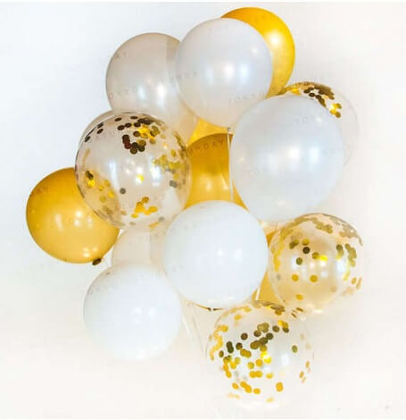 Bouquet Ballons Baudruche Biodégradable Blanc & Or| Hollyparty