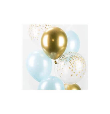 Bouquet Ballons Baudruche Biodégradable Bleu & Or| Hollyparty