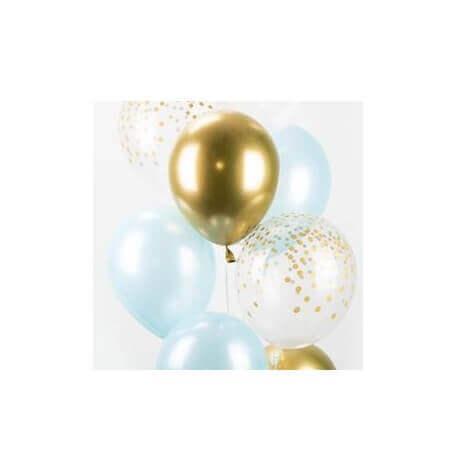 Bouquet Ballons Bleu Clair, Or et Confettis Or (x6)| Hollyparty