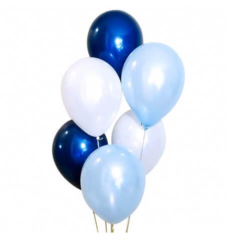 Bouquet Ballons Bleu Pastel, Bleu Nuit et Blanc (x6)  Hollyparty