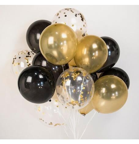 Bouquet Ballons Latex Noir, Or & Confettis Or   Hollyparty