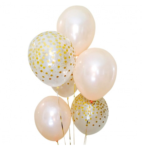 Bouquet Ballons latex Pêche et Confettis Or (x6)| Hollyparty