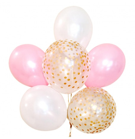 Bouquet Ballons Latex Rose, Blanc et Confettis Or (x6)| Hollyparty