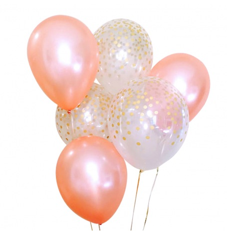 Bouquet Ballons latex Rose Gold et Confettis Or (x6)| Hollyparty