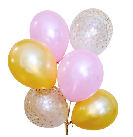 Bouquet Ballons latex Rose, Or et Confettis Or (x6)  Hollyparty