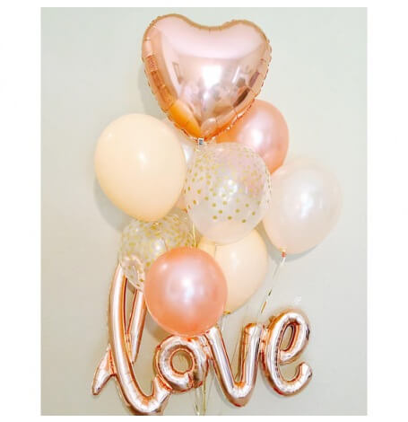 Bouquet Ballons Love Rose Gold & Pêche | Hollyparty