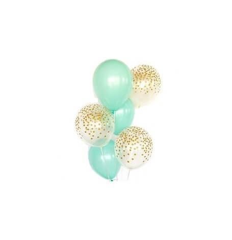 Bouquet Ballons Mint et Confettis Or (x6)| Hollyparty