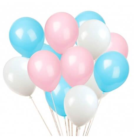 Bouquet de 12 Ballons Bleu & Rose Gender Reveal (3x4) | Hollyparty