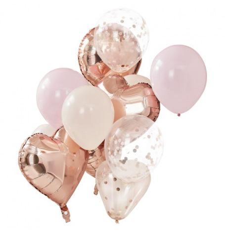 Bouquet de 12 ballons Rose Gold, Pêche & Rose| Hollyparty