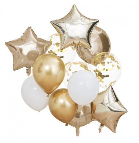 Bouquet de 13 Ballons Or Chromé & Blanc | Hollyparty