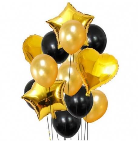 Bouquet de Ballons Noir & Or + Coeur + Etoile Mylar (x12)| Hollyparty