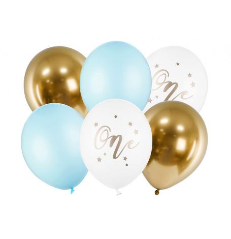 Bouquet de Ballons ONE Bleu & Or (x6)  Hollyparty