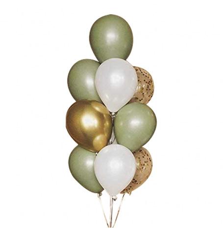 Bouquet de ballons Vert Eucalyptus & Or Chromé (x10)| Hollyparty