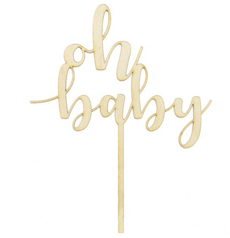 Cake Topper en bois Oh Baby | Hollyparty