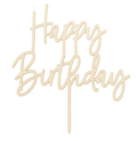 Cake topper Happy Birthday en Bois | Hollyparty