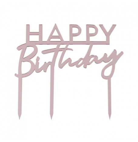 Cake Topper Happy Birthday Rose Gold | Hollyparty