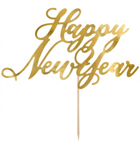 Cake Topper Happy New Year Or 24 cm | Hollyparty