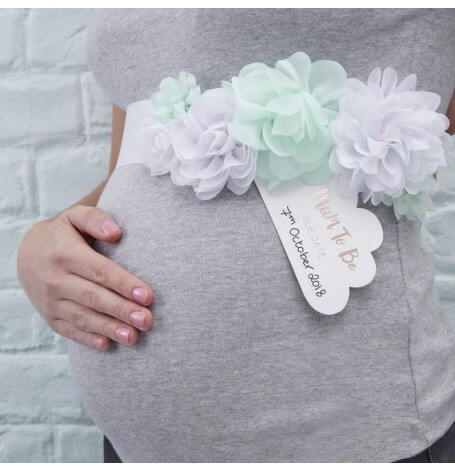 Ceinture de Fleur Mint Baby Shower Future Maman| Hollyparty
