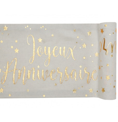 Chemin de table Joyeux Anniversaire Or| Hollyparty