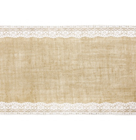 Chemin de table Jute Dentelle Blanc| Hollyparty