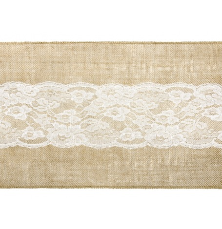 Chemin de table Jute Dentelle Central Blanc| Hollyparty