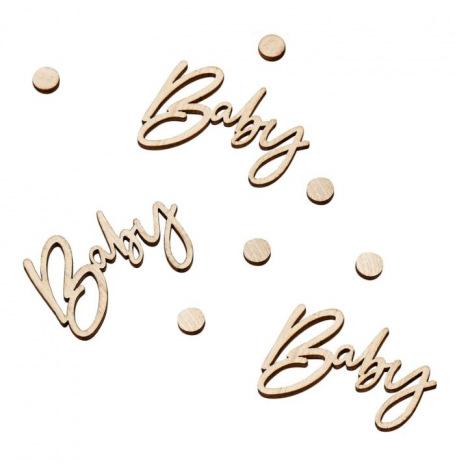 Confettis de table Baby en bois végétal (x18)  Hollyparty
