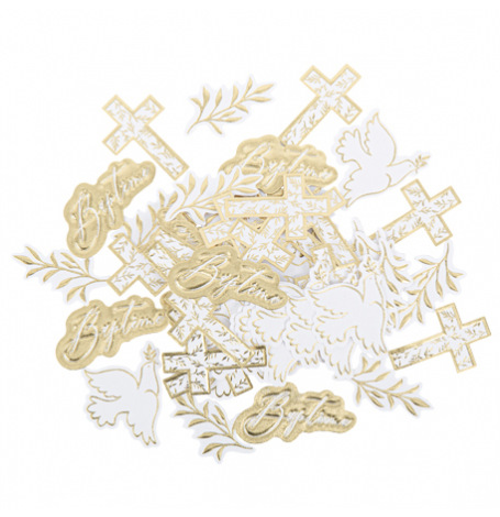 Confettis de table Baptême Blanc & Or (x24)| Hollyparty