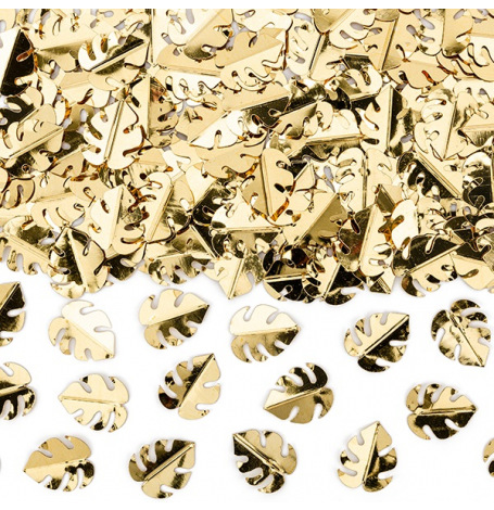 Confettis de table Feuillage Métallique Or | Hollyparty