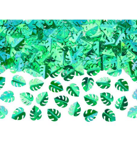 Confettis de table Feuillage Métallique Vert | Hollyparty