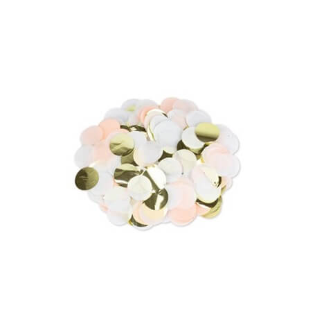 Confettis de table Papier Pêche, Blanc & Or 3cm | Hollyparty