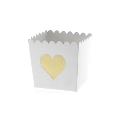 Contenants à bonbon Coeur Or (x6)  Hollyparty