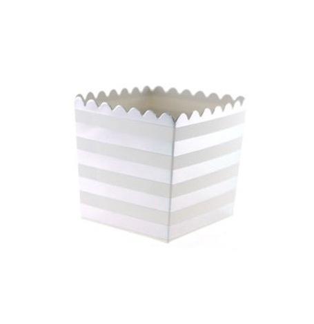 Contenants à Bonbon Rayure Argent (x6)  Hollyparty