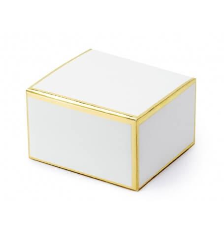 Contenants à Dragées Blanc & Or (x10)| Hollyparty