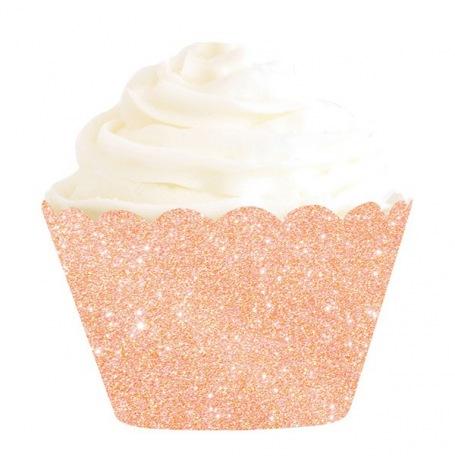 Déco à cupcake Rose Gold Pailleté (x6)| Hollyparty