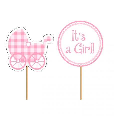 Déco gâteau rose It's a Girl (x12)| Hollyparty