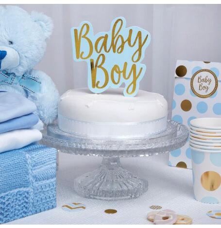 Décoration Gâteaux Baby Boy Bleu et Or | Hollyparty