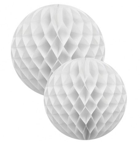 Duo Boules Alvéolées en papier Blanc (x2)| Hollyparty