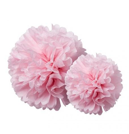 Duo Pompons Fleur de Papier de soie Rose (x2)| Hollyparty