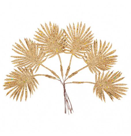 Feuilles sur tige Pailleté Or 19 x 4.5 cm (x6)  Hollyparty