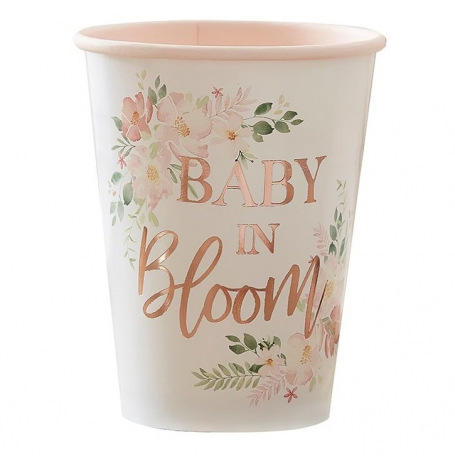 Gobelets carton floral Baby in Bloom (x4)| Hollyparty