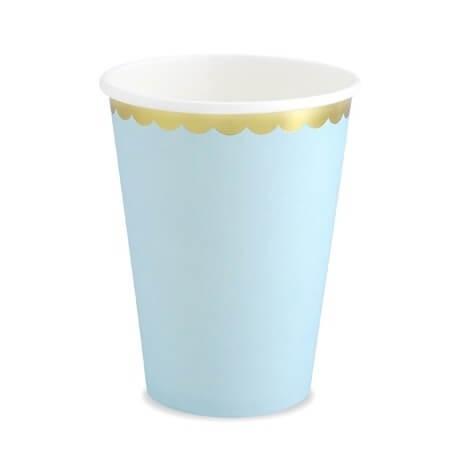 Gobelets en carton Bleu Pastel & Or (x6)  Hollyparty
